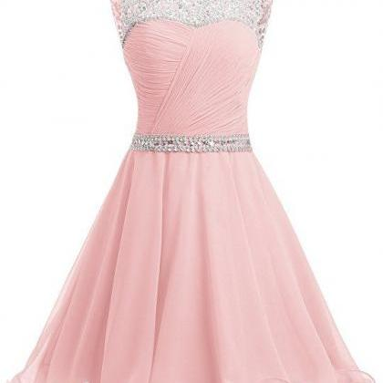 Short Chiffon Open Back Prom Dress ..
