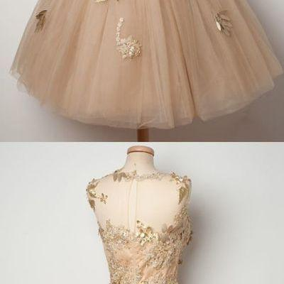 champagne homecoming dress,tulle ho..