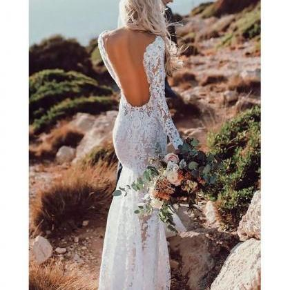 See Through Lace Rustic Wedding Dre..