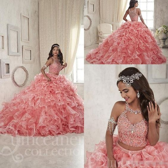 Organza Sparkly Crystal Two PiecesCoral New Quinceanera Dresses 2016 Custom Make Ruffles Skirt Sweet 15 Girls Formal Occasion Party Dress