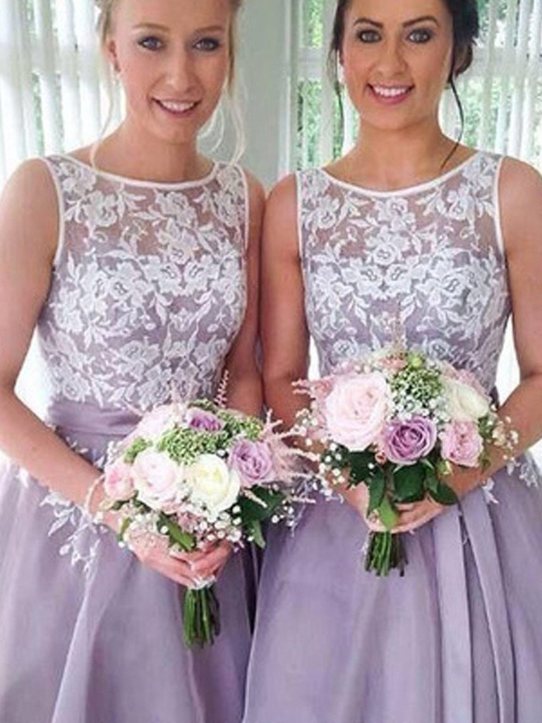 Bridesmaid Dresses Organza Blue Lilac Short Lace