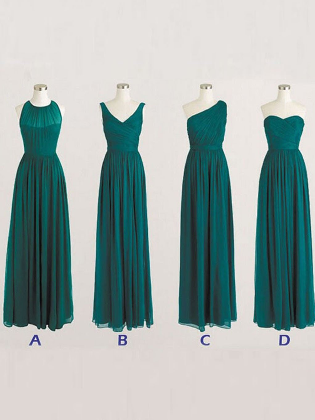 Bridesmaid Dresses Simple Long Dark Green Floor Length Prom