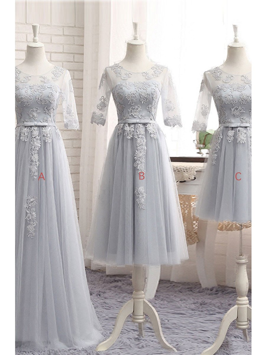 Half Sleeves Bridesmaid Dresses Tulle Liques Silver