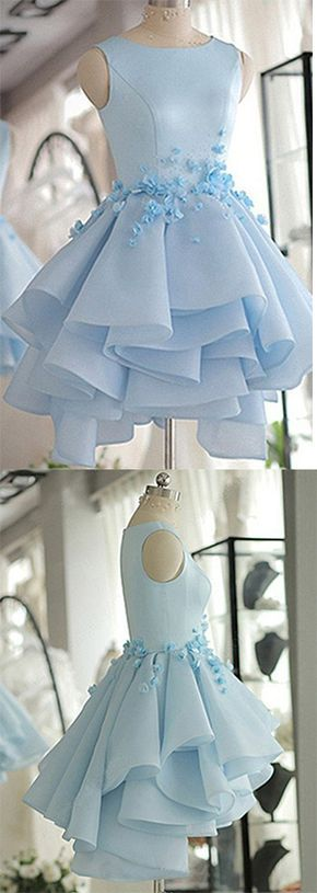 Sky Blue Homecoming Dress,A-line Scoop Neck Prom Dress,Satin Tulle Short Flowers Original Prom Dresses,Mini Dress,Sweet 16 Dress,Homecoming Dress
