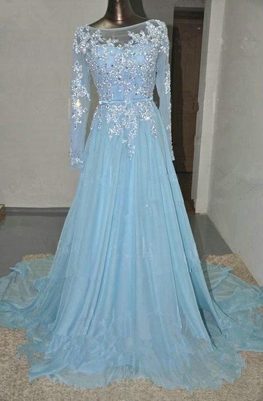 94a52ba136c3 Pretty Light Blue Chiffon Long Prom Dress With Applique And Beadings ...