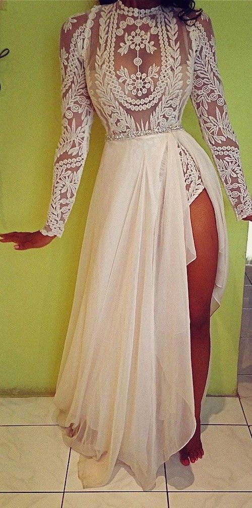 7d39aae1240 Sexy Embroidery Wedding Prom Gown - White Lace Sheer Crystal Belt Chiffon  Dress