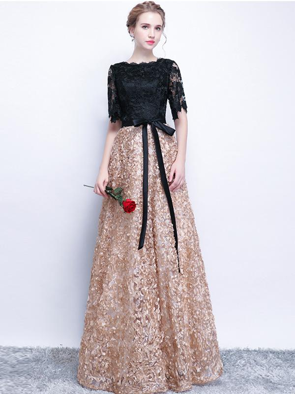 A-line Bateau Floor-length Half Sleeve Tulle Prom Dress/Evening ...