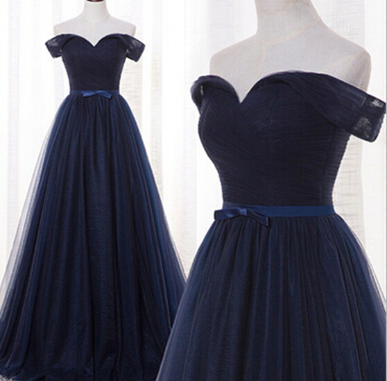 f9eef65c0e6 Beautiful Navy Blue Off Shoulder Tulle Long Prom Gowns