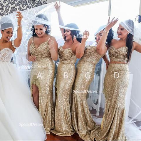 Mismatched Sparkly Gold Sequin Mermaid Bridesmaid Dresses Unique Long Gown