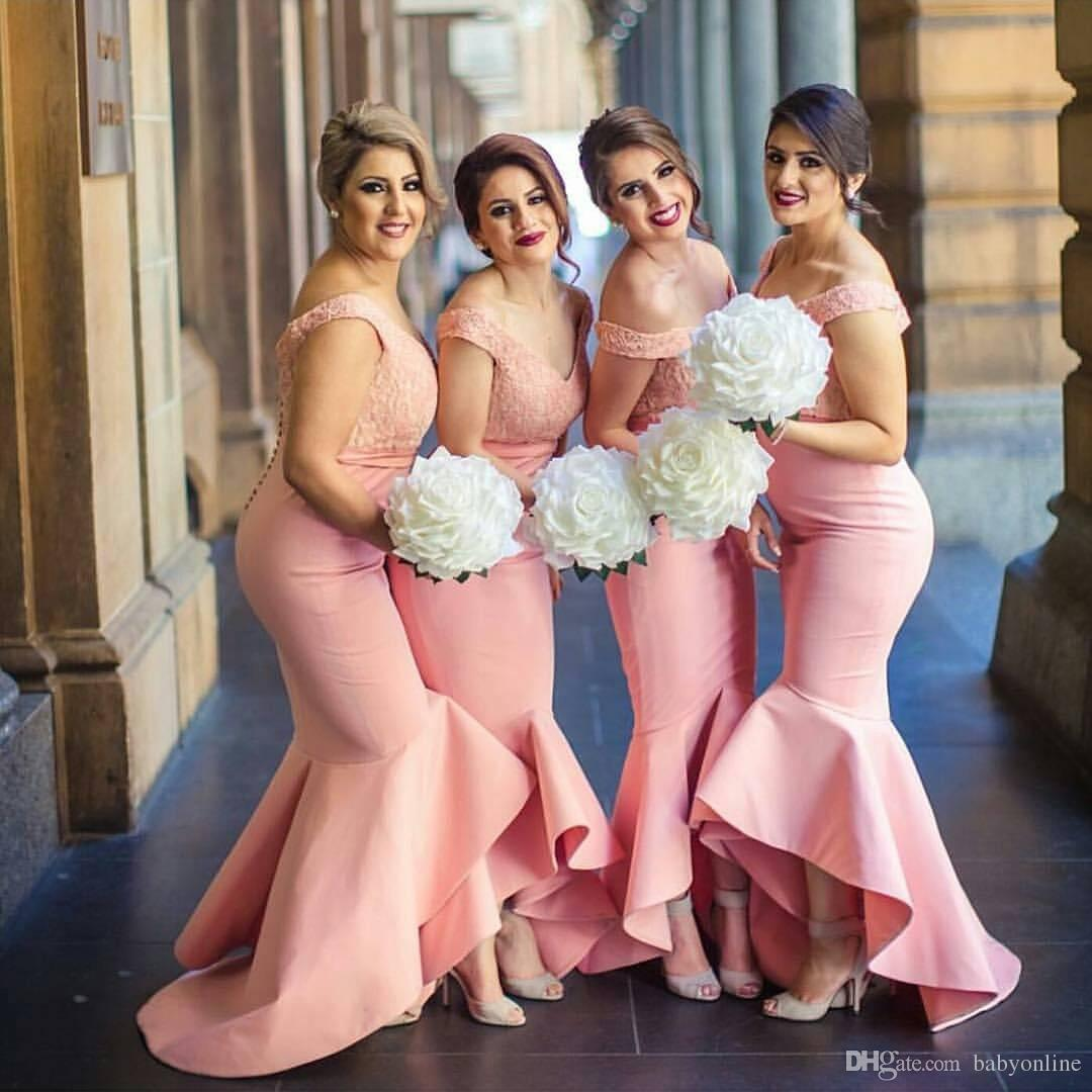 b2d17afabf44 2017 New Arabic Sweetheart Off Shoulders Bridesmaid Dresses Backless Lace  Bodice High Low Dubai Ruffle Skirt