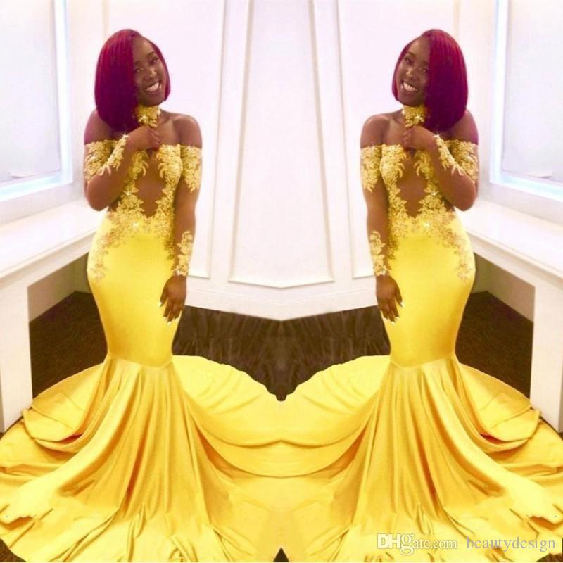 New Elegant Black Girls Yellow Off The Shoulder Lace Prom Dresses ...