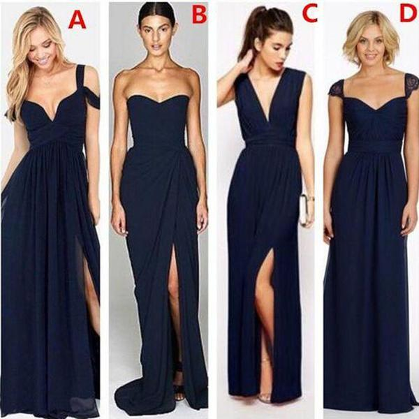 A Line Navy Blue Mismatched Side S Long Bridesmaid Dresses Wedding Guest Bd