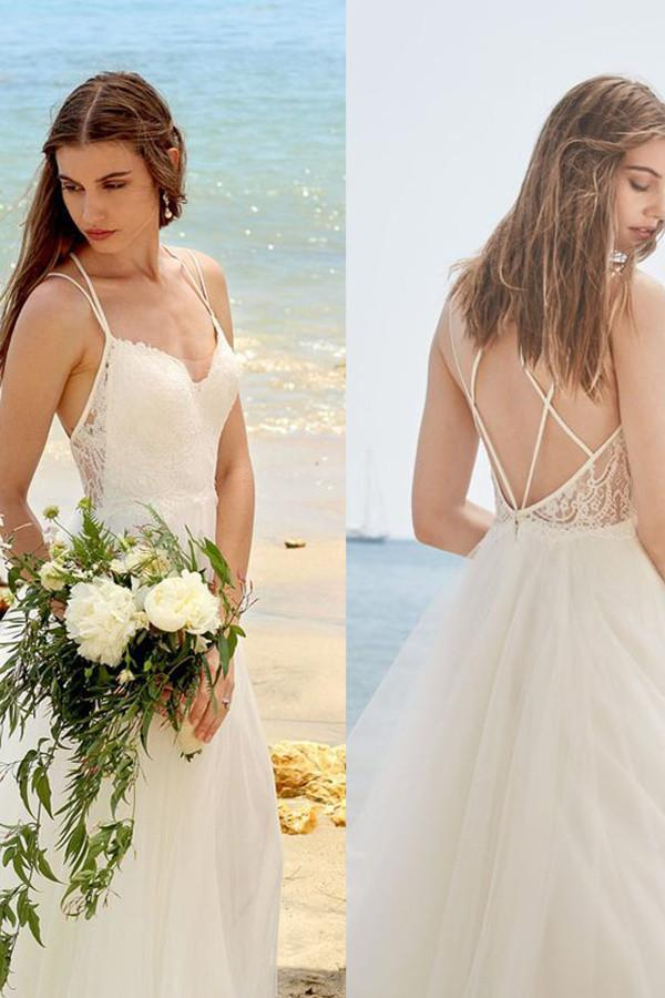 Simple Spaghetti Straps Ivory A Line Tulle Beach Wedding Dressw2118