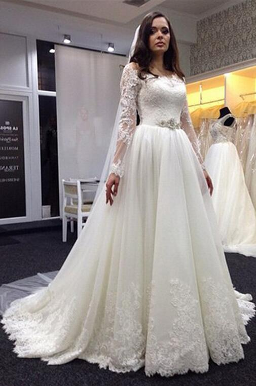 Lace Wedding Dress, Plus Size Wedding Dresses, Long Sleeve Wedding Dresses, Scoop Wedding Dress, Bridal Gown with White, Hot Sale Wedding Dress, High Quality Wedding Dresses,W3106