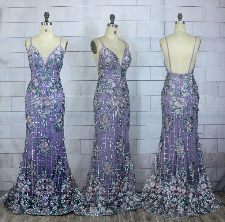 Charming Spaghetti straps Lace Mermaid Prom Dress, Purple Sleeveless Backless Floral Prom Dresses, Evening Party Dresses, Wedding Party Gowns, 128