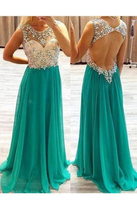 Elegant Round Neck Chiffon Long Backless Green Prom Dress With Beading