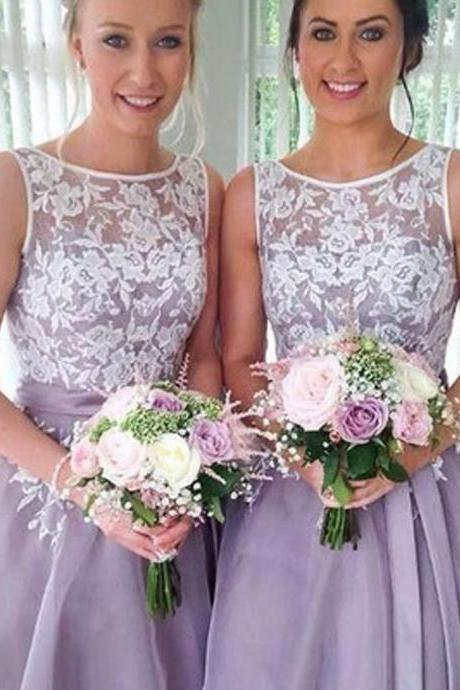 Bridesmaid Dresses Organza Blue Lilac Short Lace Bridesmaid Dresses
