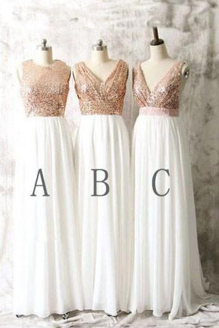 Bridesmaid Dresses Sequins V-neck Long Ivory Bridesmaid Dresses