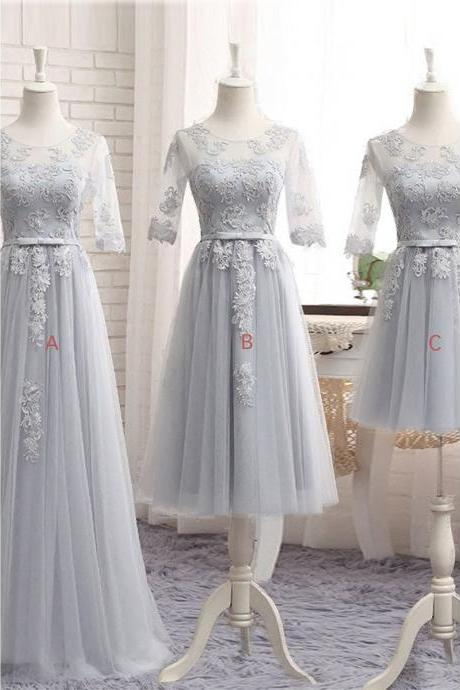 Half Sleeves Bridesmaid Dresses Tulle Appliques Silver Bridesmaid Dresses