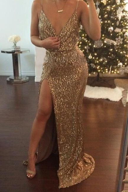 Gold Sequin Party Dress Evening Dress Prom Dress with Side Slit