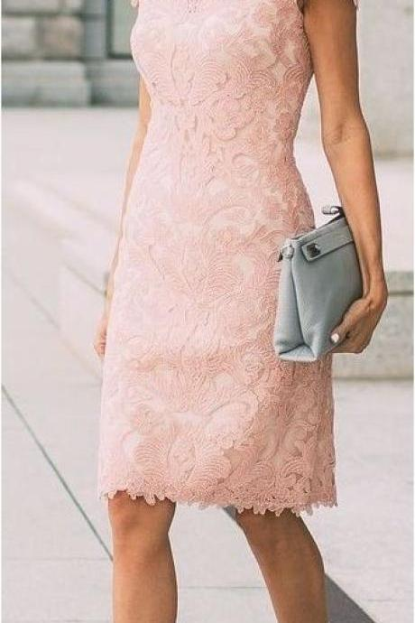 Elegant Mother Of The Bride Dresses,Short Sleeve Prom Dresses,Pink Lace Prom Dresses