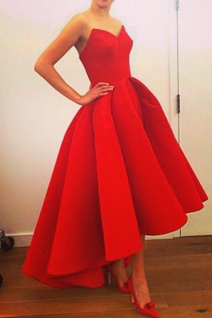 Red Satin High Low Simple Prom Dress Party Gown,Strapless Prom Dresses