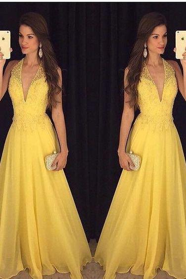 Deep V-neck Yellow Beading Prom Dresses, Long Party Dress