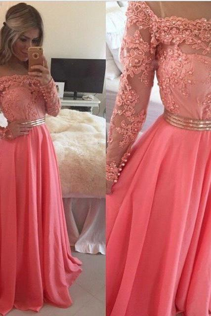 Elegant A-line Long Sleeves ,Coral Long Chiffon Prom Dress,Prom Dresses