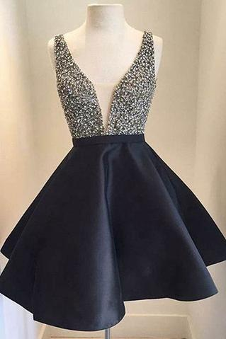 Cute Homecoming Dress, V-Neck Homecoming Dress,Short Prom Dresses, Backless Prom Dress, Beading Prom Dress, V neck Prom Evening Dress, Black Prom Dress
