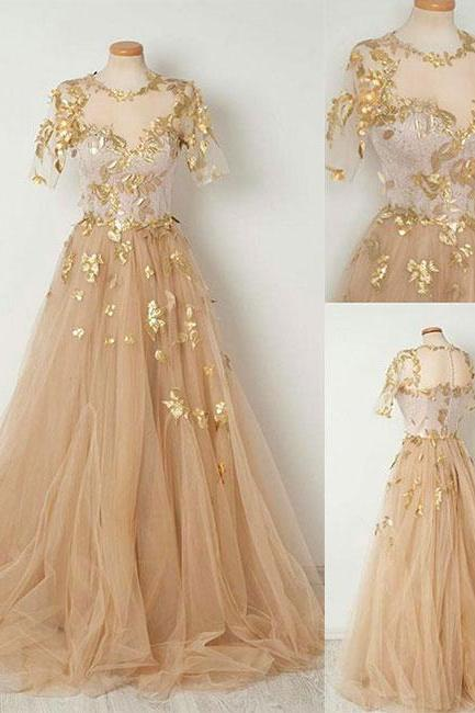Elegant A-Line Round Neck Half Sleeves Champagne Tulle Long Prom Dress