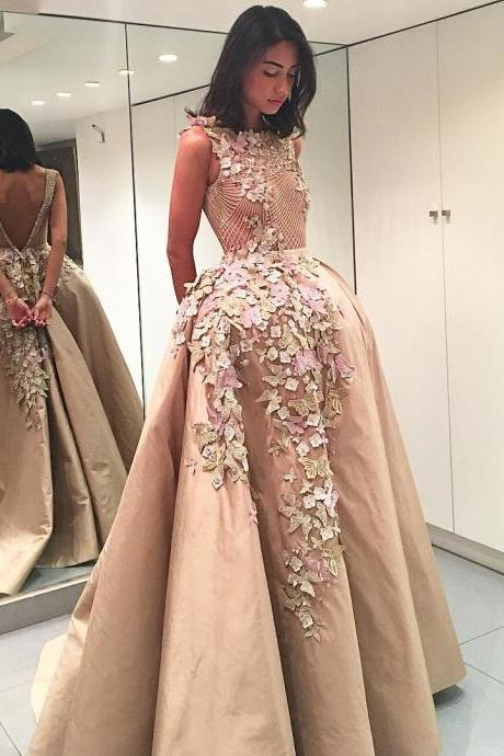 Colorful Butterflies Flowers Appliques V-Back Evening Dresses 2018 Champagne Prom Dress Cheap