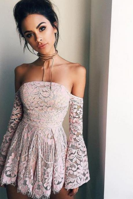 Homecoming Dress,off the shoulder long sleeves pink prom dress,short prom dresses,blush pink homecoming dresses,modest homecoming dress,short prom gowns 2017