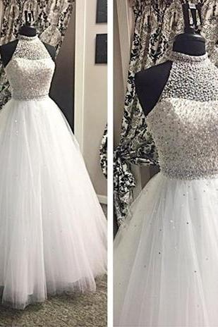 Halter Beading Wedding Dresses, Floor-Length Long Wedding Dresses,Wedding Dresses