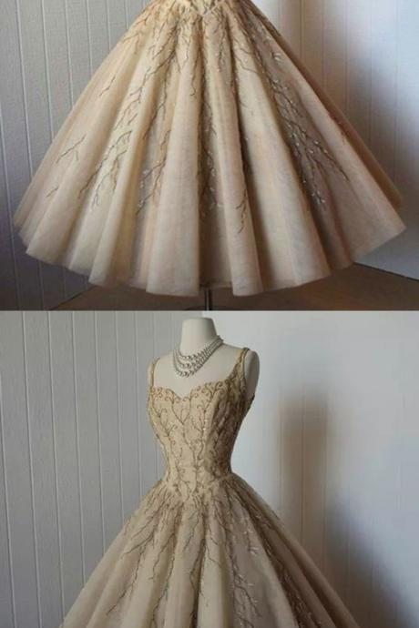 A-Line Straps Tea-Length Sleeveless Champagne Organza Homecoming Dress with Appliques