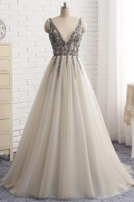 V-Neck Backless Prom Dress,Long Prom Dresses,Cheap Prom Dresses, Evening Dress Prom Gowns, Formal Women Dress,Prom Dress