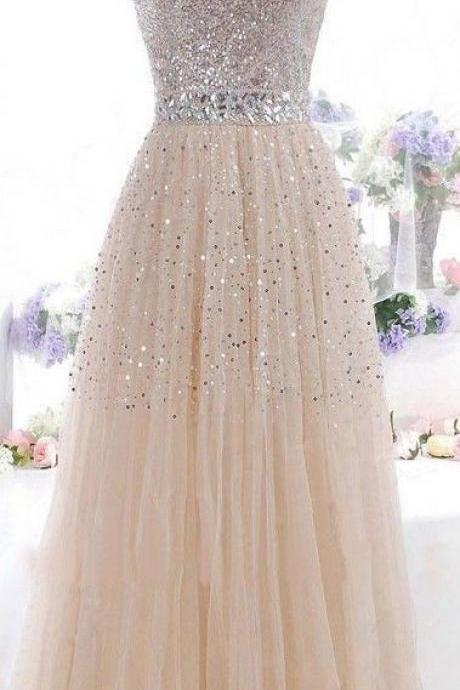 Tulle Prom Dress, Classic Prom Dress, Sparkly Prom Dress, 2016 Prom Dress, Formal Prom Dress