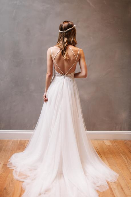 Sexy Backless Wedding Dress, Beautiful Backless Wedding Dresses and Gowns, Strap Back, Lace and Tulle Wedding Dress, Wedding Dress, A-line Wedding Dress