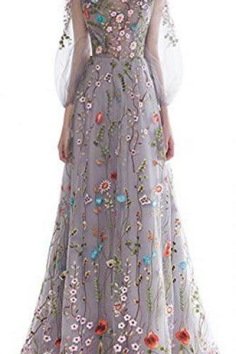 Bateau Sheer Floral Embroidered A-line Floor-Length Prom Dress, Evening Dress with Long Sleeves