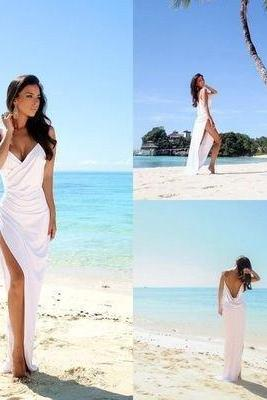 Save Simple Sexy Open Back Beach Wedding Dresses Side Slit Spaghetti Straps Summer Bridal Party Gown White Wedding Gown
