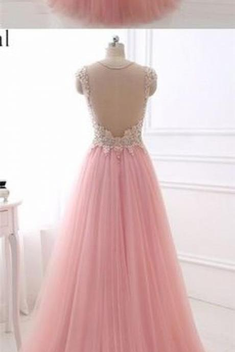 Pink Plunging V Rhinestone Embellished A-line Floor-Length Prom Dress, Evening Dress