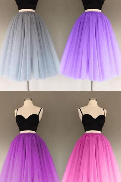 A Line Two Piece Homecoming Dresses Short Tulle Prom Gowns