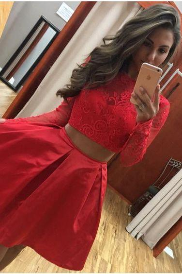 Red Homecoming Dresses, Lace Prom Dresses,Satin Cocktail Dress, Simple Party Dress, 2 pieces Summer Dresses