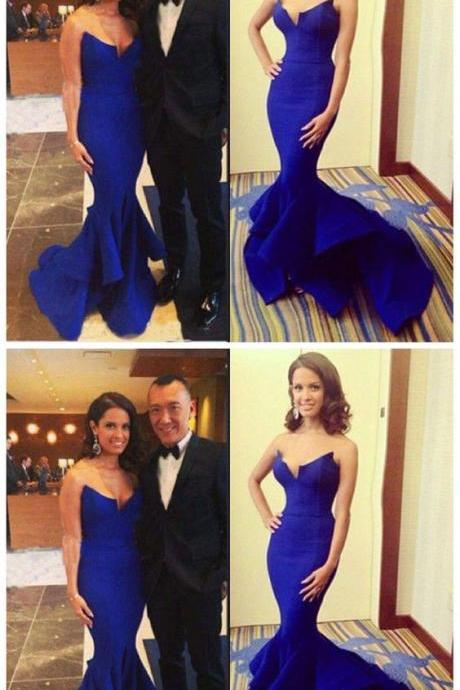 Beautiful Royal Blue ,Sexy Mermaid Long Prom Dress
