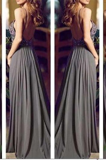 Gray Long Prom Dresses, Straps Prom Gowns,Beaded Evening Dresses, Backless Evening Gowns, Cocktail Dresses Custom