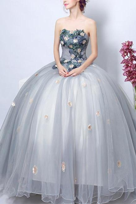 Floral Appliqués Strapless Straight Across Floor Length Tulle Formal Gown, Prom Gown