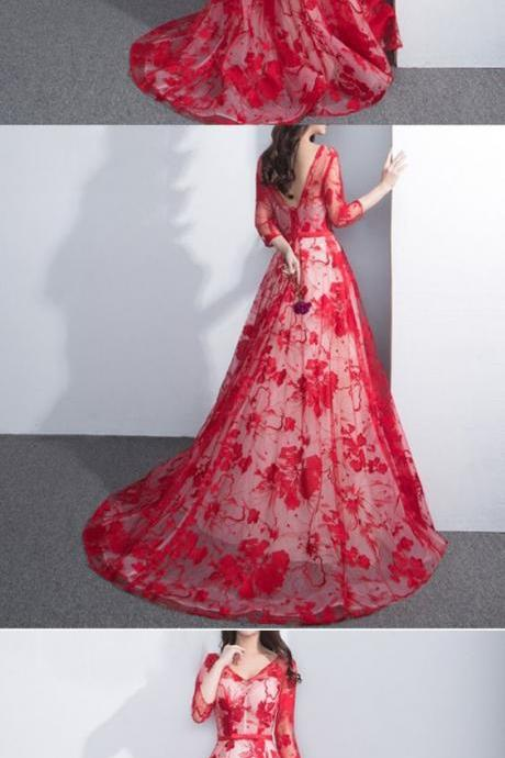 Charming See Through Red Floral Prints Lace Three-quarter Long Prom Dresses