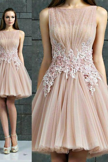 Discount Applique Champagne Prom Party Dresses Light Short Bateau Sleeveless Dresses