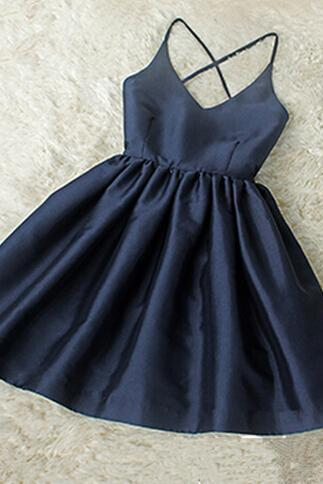 Adorable High Quality Navy Blue V-neckline Halter Cross Back Women Dresses, Homecoming Dresses, Cute Dresses