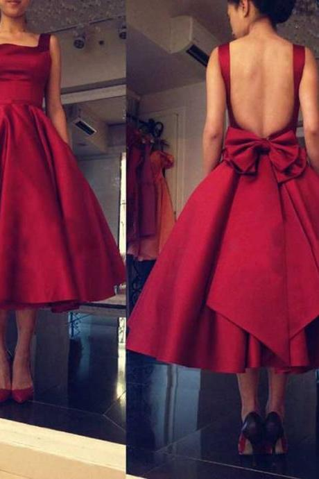 Homecoming dresses,Backless Prom Dress,Bowknot Prom Dress,Midi Prom Dress,Fashion Prom Dress,Sexy Party Dress, New Style Evening Dress