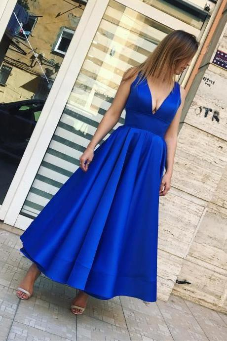 Royal Blue Satin Ankle Length Prom Dress Sleeveless Short Party Gown